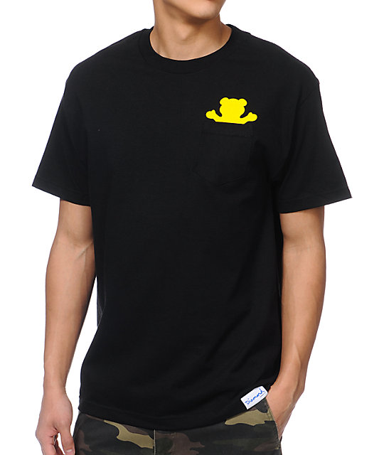 Diamond Supply x Grizzly Grip Tape Pocket Bear Black T-Shirt