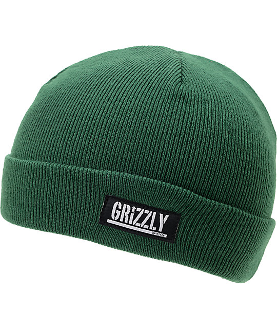 Diamond Supply x Grizzly Grip Tape Stamp Green Cuff Beanie