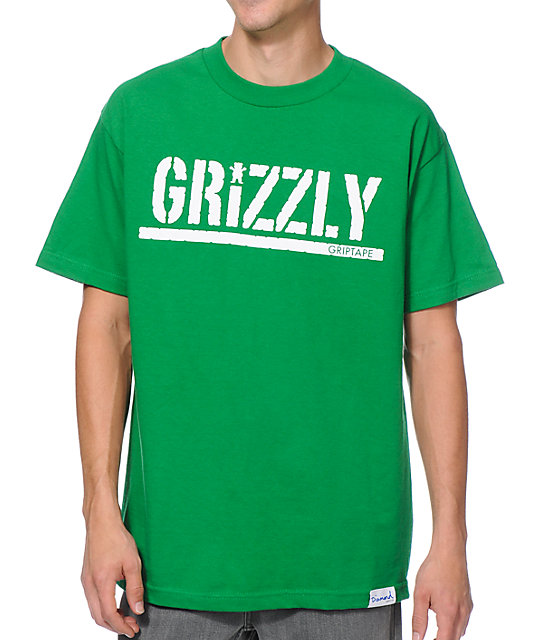 Diamond Supply x Grizzly Grip Tape T-Puds Grizzly Stamp Green T-Shirt