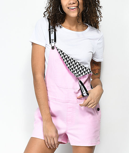 Dickies Light Pink Overall Shorts