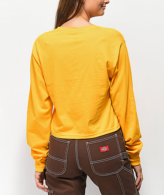 Dickies Logo Stripe Yellow Long Sleeve Crop T-Shirt