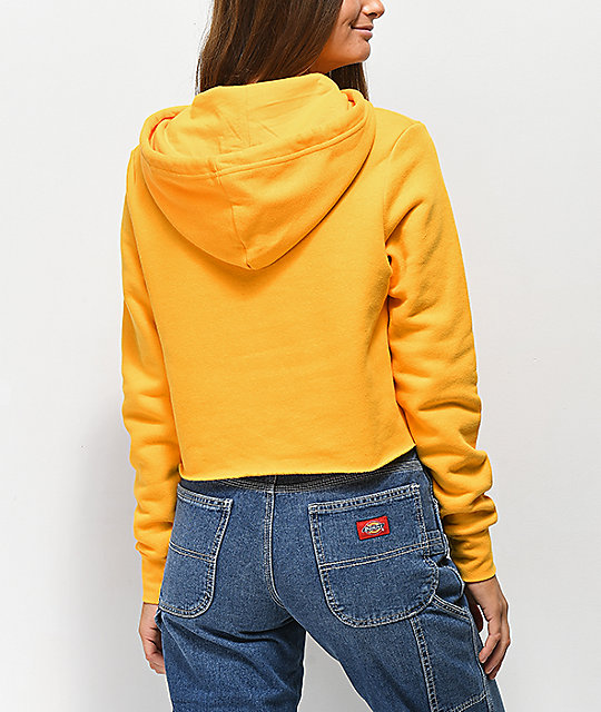 a70df345ec4 Dickies Logo Yellow Crop Hoodie | Zumiez