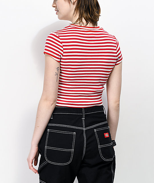 Dickies Red & White Stripe Crop T-Shirt