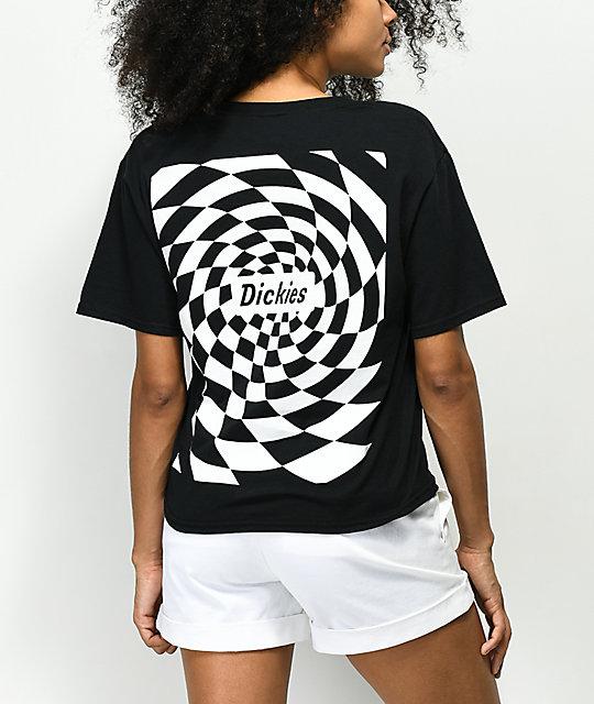 9dd6ccf6509fd7 Dickies Spiral Checker Black Crop T-Shirt
