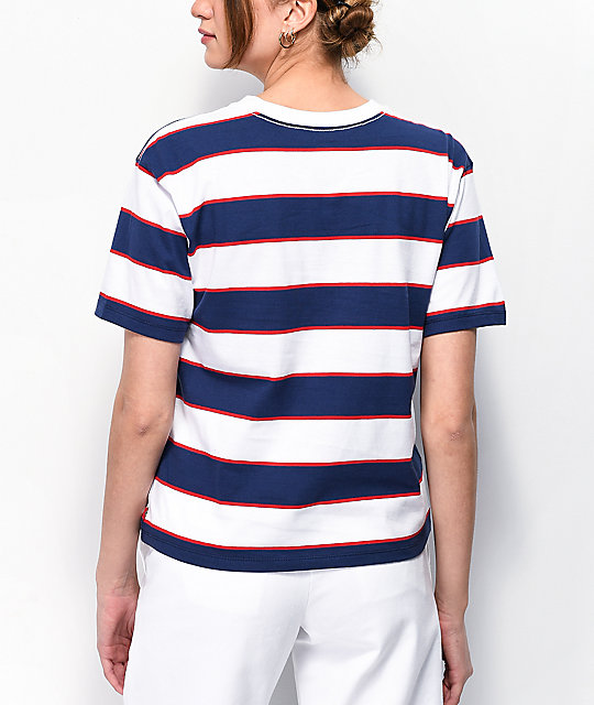 Dickies Tomboy Navy, White & Red Stripe T-Shirt