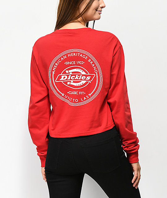 9a5df62272a Dickies Vintage Stamp Red Long Sleeve Crop T-Shirt