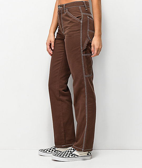 d97239dc95 ... Dickies pantalones marrones estilo carpintero ...