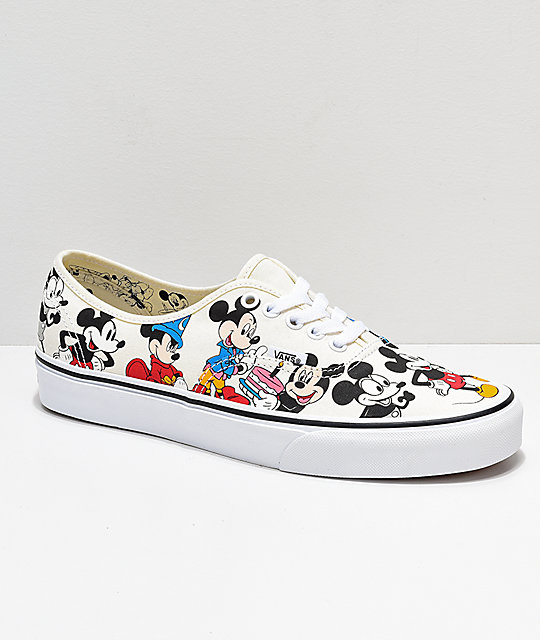 04986fc62f Disney by Vans Authentic Mickey s Birthday True White Skate Shoes ...