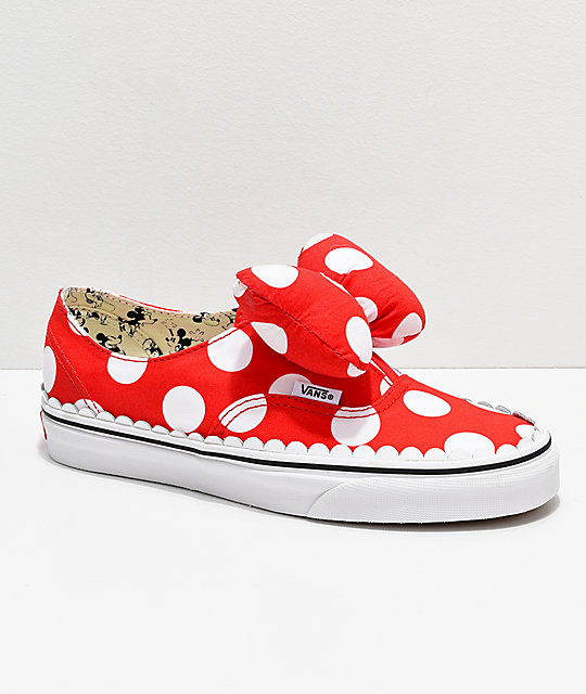 low priced 9c6b3 503bf Disney by Vans Authentic Minnie's Bow Slip-On Skate Shoes