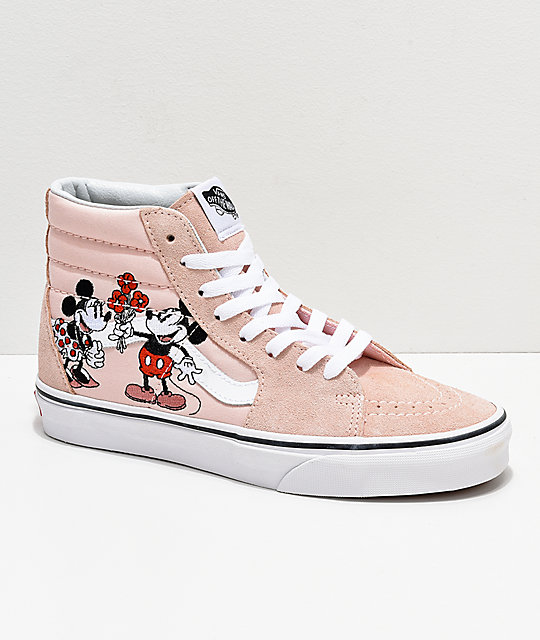 Disney by Vans Sk8-HI Mickey & Minnie Pink Skate Shoes