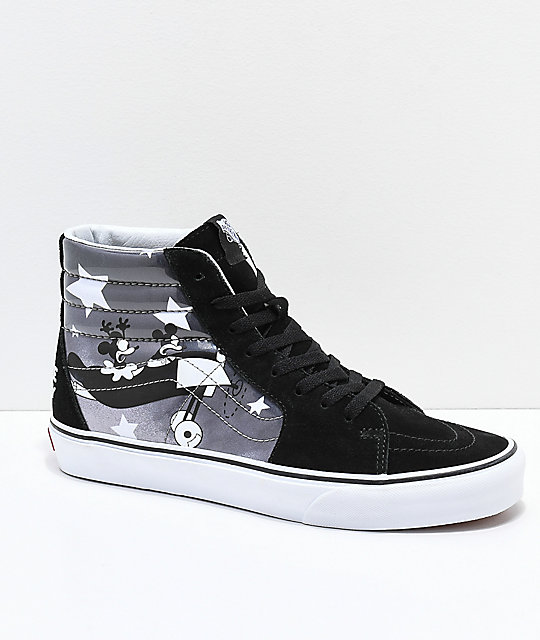 4aa1346db598 Disney x Vans Sk8-Hi Mickey Plane Crazy Black   White Shoes