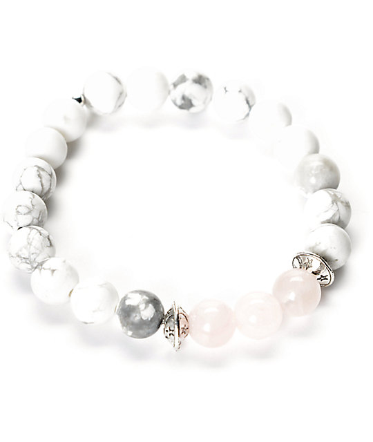 grande remise plus tard brillance des couleurs Divinity LA Rose Howlite Pink & White Bracelet