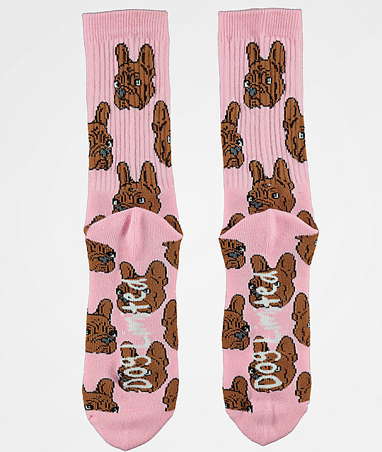 Dog Limited Frenchie Face calcetines rosas
