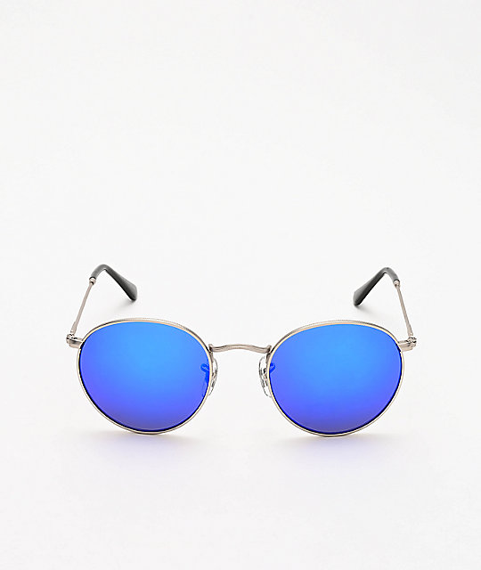 Dot Dash Velvatina Matte Silver & Blue Chrome Sunglasses