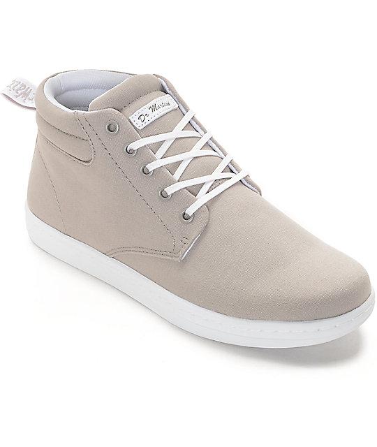 Dr. Martens Maleke Grey Canvas Shoes ...