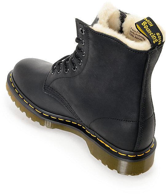 989f6d43f4a Dr. Martens Serena 8 Eye Fur Lined Black Boots