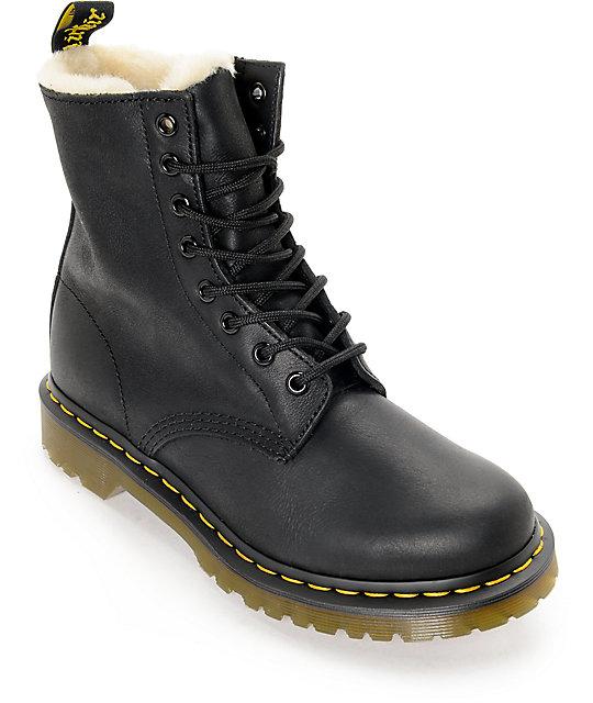 dr martens serena 8 eye fur lined black boots. Black Bedroom Furniture Sets. Home Design Ideas