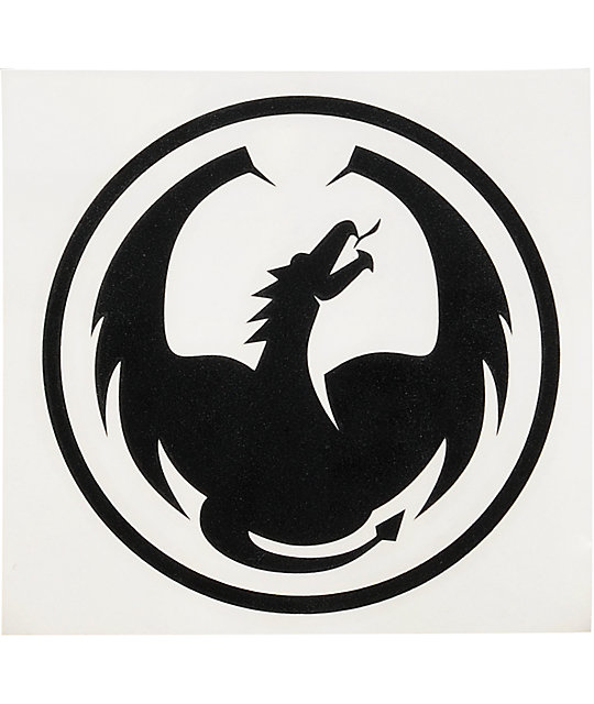 Dragon 6 Die Cut Black Sticker