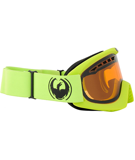 Dragon DX Lime & Amber Snowboard Goggles