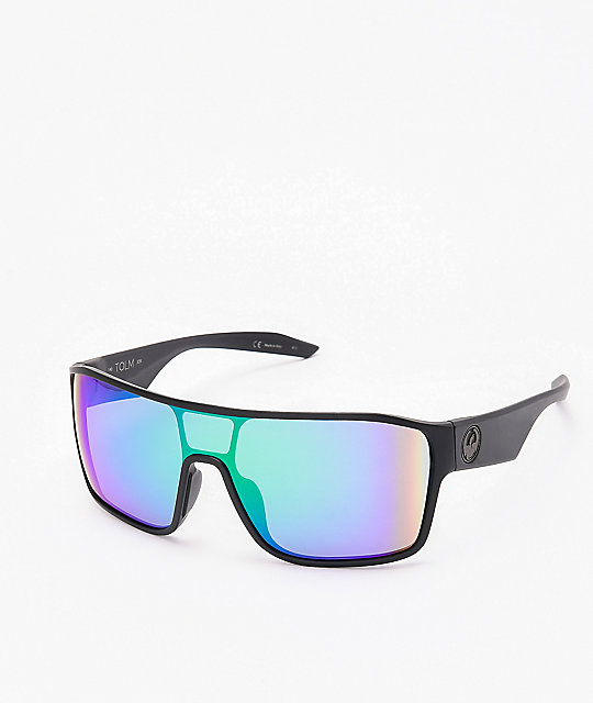 Dragon Tolm Ion Matte Black & Green Sunglasses