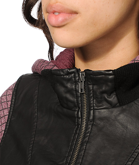 Dravus Adria Fig Quilted Faux Leather Jacket