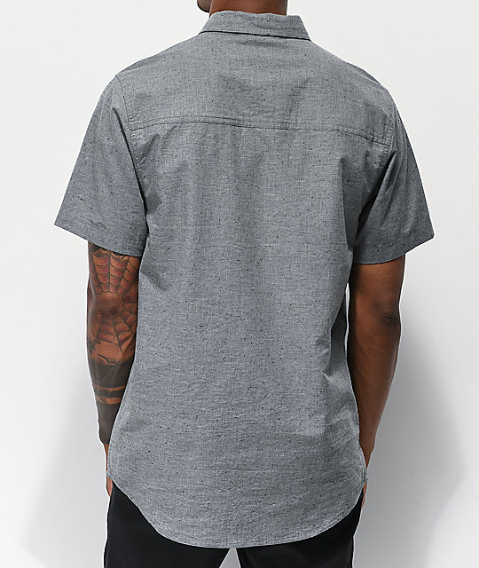 Dravus Alvin Speckled Grey Woven Short Sleeve Button Up Shirt