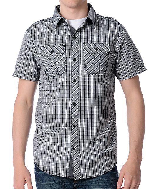 Dravus Arsenal Grey Plaid Woven Shirt