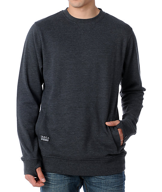 Dravus Borealis Charcoal Grey Crew Neck Sweatshirt