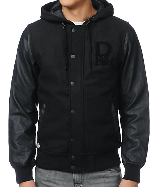 Dravus Braydon Black Faux Leather & Wool Varsity Jacket