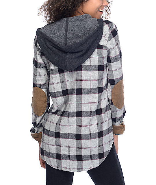 Dravus Carlson Grey & Black Hooded Flannel