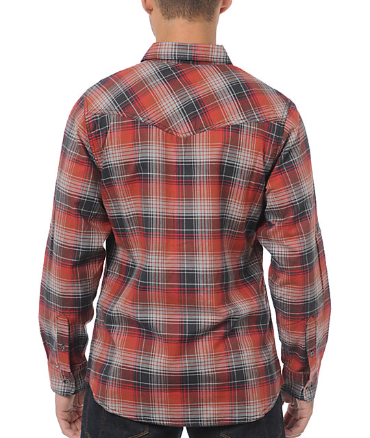 Dravus Chalet Red & Grey Plaid Long Sleeve Button Up Shirt