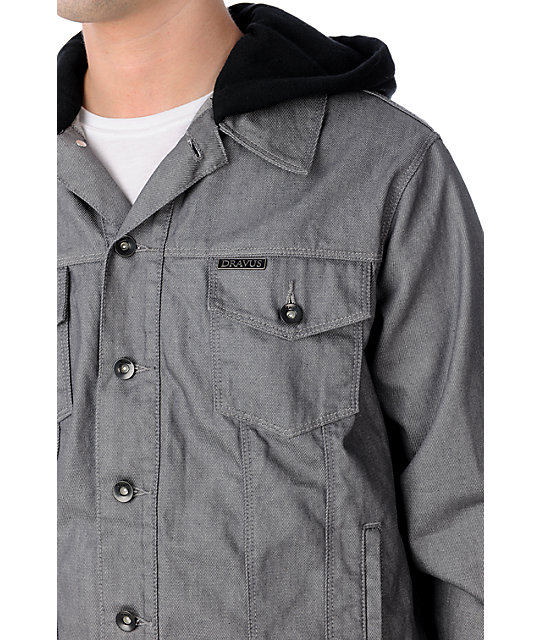 Dravus Cooke Waxed Mens Grey Hooded Jean Jacket