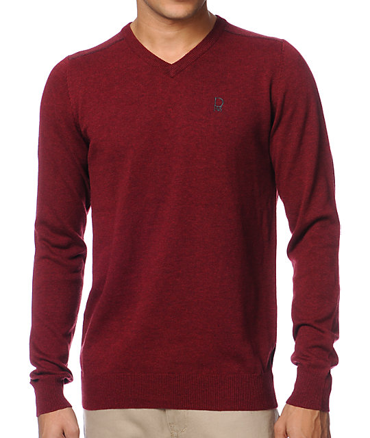 Dravus Detroit Dark Red V-Neck Sweater