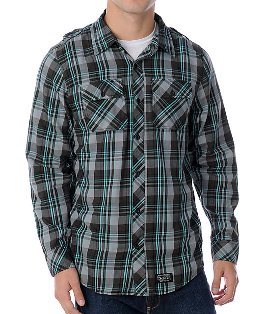 Dravus Divided Black & Turquoise Woven Shirt