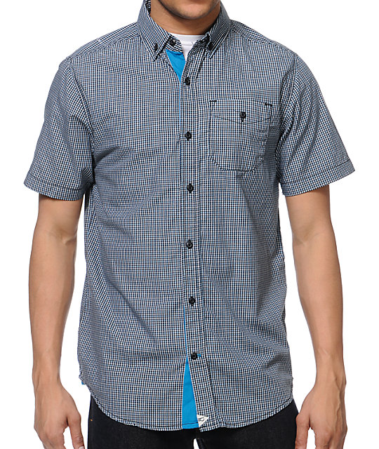 Dravus Flying Lotus Black Plaid Button Up Shirt