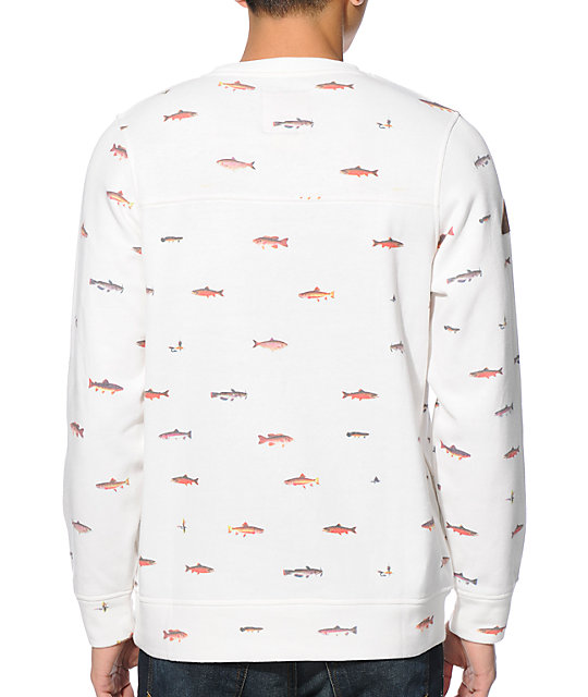 Dravus Gone Fishin Beige Crew Neck Sweatshirt