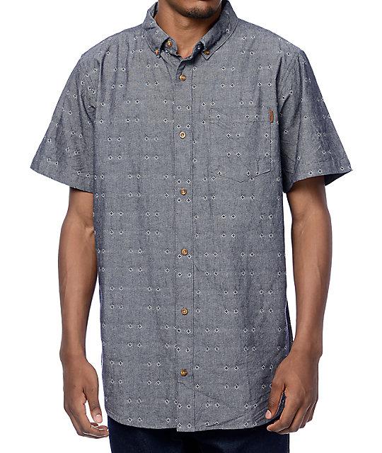 fd5c86d1aa Dravus Harold Navy Chambray Dobby Short Sleeve Button Up Shirt