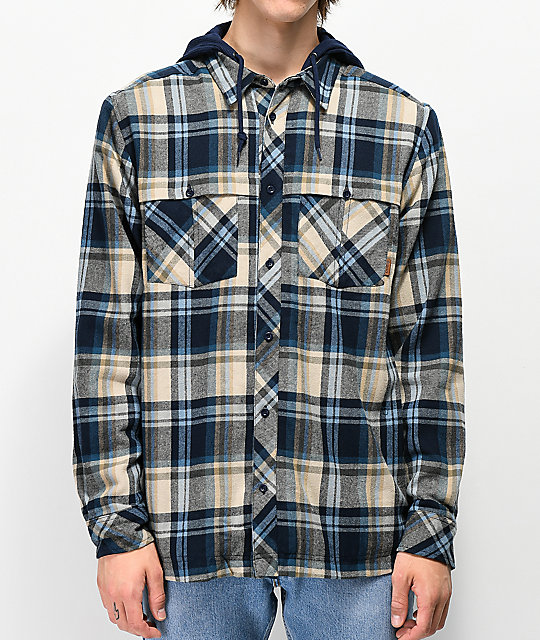 Dravus Harry Charcoal & Blue Hooded Flannel Shirt