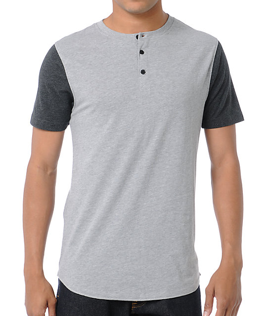 Dravus Home Run Charcoal Grey Henley Baseball T-Shirt