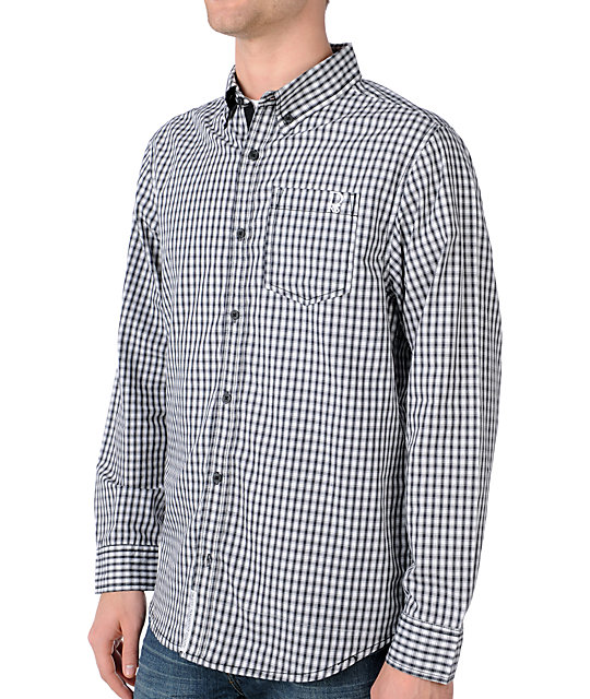 Dravus In Pursuit Black & White Long Sleeve Woven Shirt