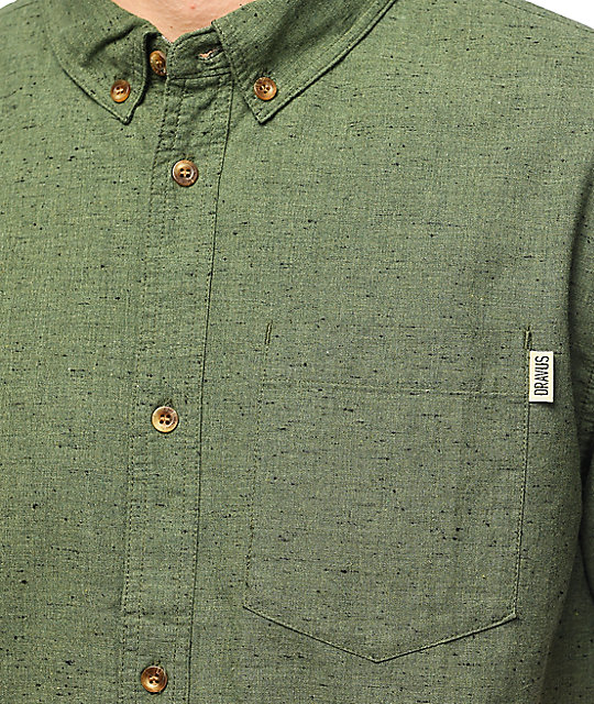 Dravus Jasper Olive Short Sleeve Button Up Shirt