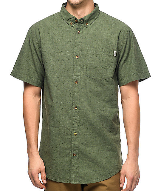 Dravus Jasper Olive Short Sleeve Button Up Shirt Zumiez