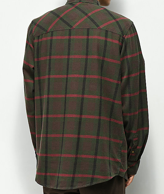 Dravus Mark Brown, Green & Red Flannel Shirt