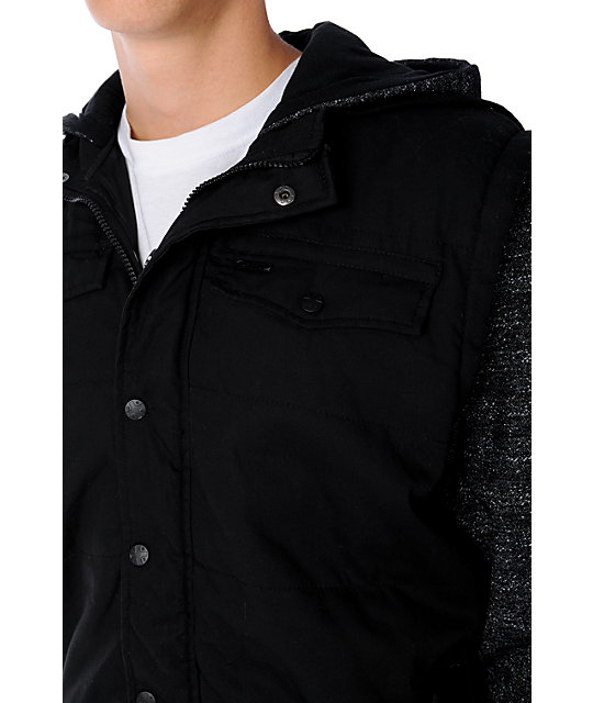 Dravus Mens Mechanic Black Canvas Vest Hoodie