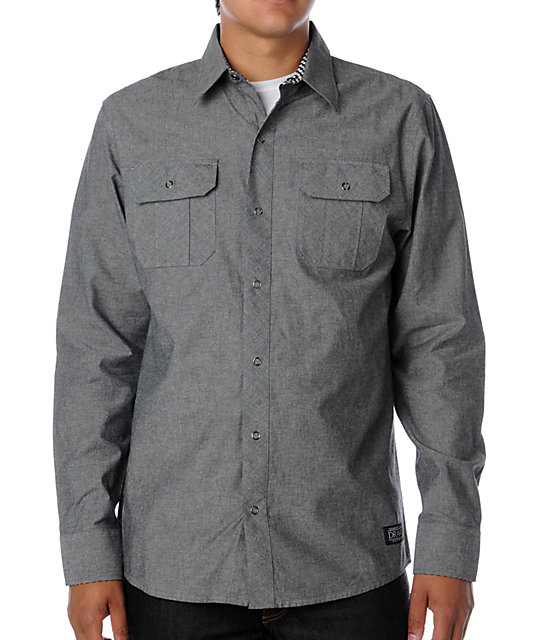 Dravus Mishap Grey Chambray Woven Shirt