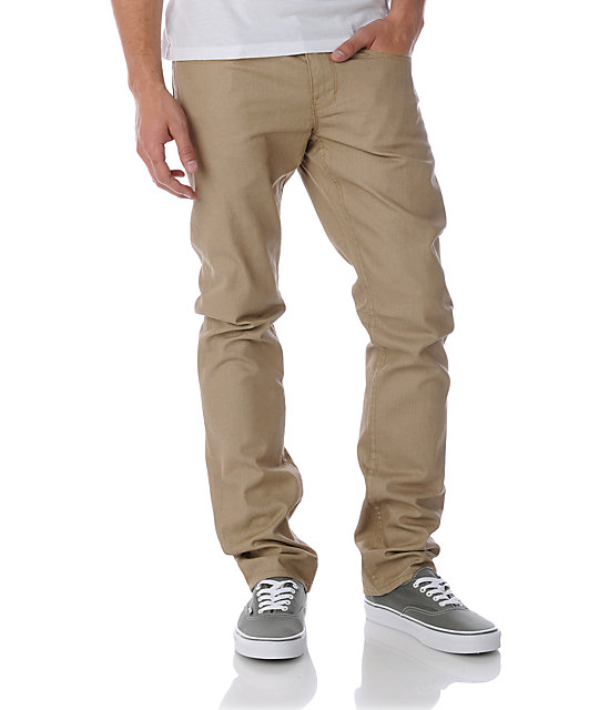 Dravus Narrows Waxed Khaki Slim Jeans