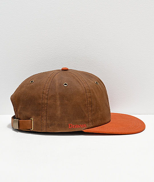Dravus Natural Waxed Brown & Orange Strapback Hat