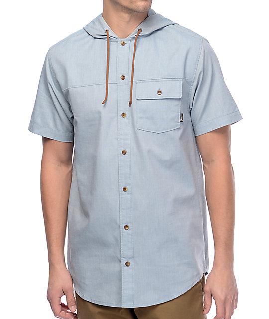 Dravus newb light blue hooded short sleeve button up shirt for Light blue short sleeve shirt mens