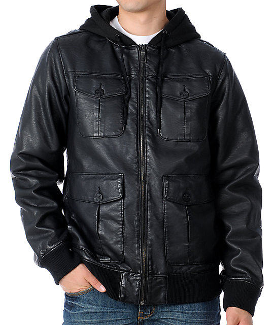 Dravus Nuance Black Faux Leather Mens Hooded Bomber Jacket