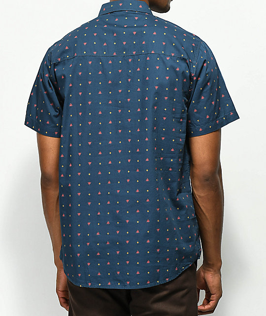 Dravus Paul Navy, Red & Tan Printed Short Sleeve Button Up Shirt